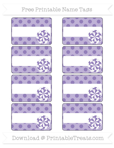 Free Pastel Dark Plum Polka Dot Cheer Pom Pom Tags
