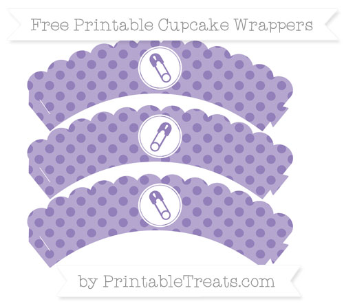 Free Pastel Dark Plum Polka Dot Diaper Pin Scalloped Cupcake Wrappers