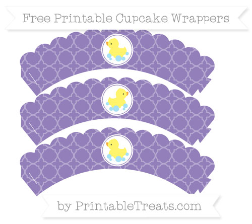 Free Pastel Dark Plum Quatrefoil Pattern Baby Duck Scalloped Cupcake Wrappers