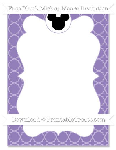 Free Pastel Dark Plum Quatrefoil Pattern Blank Mickey Mouse Invitation