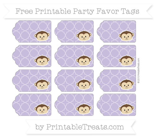 Free Pastel Dark Plum Quatrefoil Pattern Boy Monkey Party Favor Tags