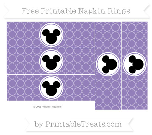 Free Pastel Dark Plum Quatrefoil Pattern Mickey Mouse Napkin Rings