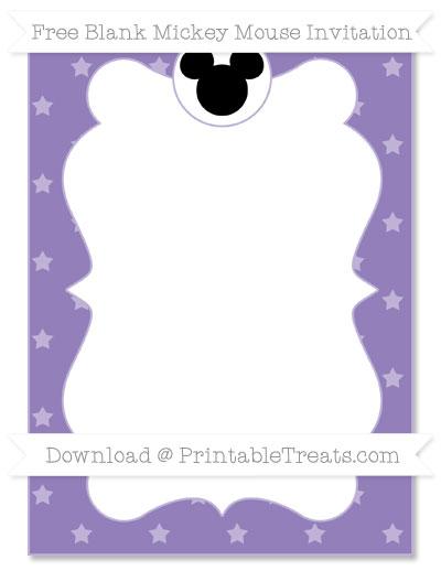 Free Pastel Dark Plum Star Pattern Blank Mickey Mouse Invitation
