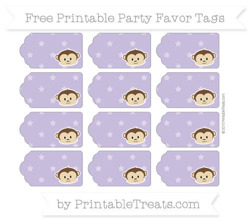Free Pastel Dark Plum Star Pattern Boy Monkey Party Favor Tags
