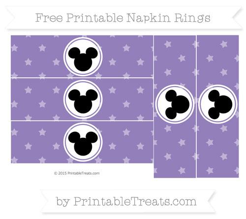 Free Pastel Dark Plum Star Pattern Mickey Mouse Napkin Rings