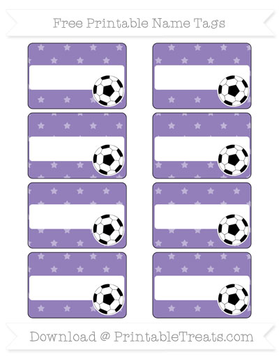 Free Pastel Dark Plum Star Pattern Soccer Name Tags