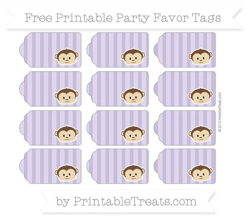 Free Pastel Dark Plum Striped Boy Monkey Party Favor Tags