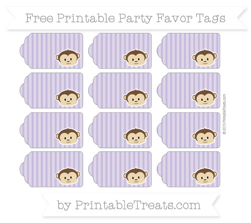 Free Pastel Dark Plum Thin Striped Pattern Boy Monkey Party Favor Tags