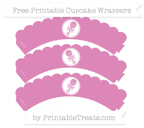 Free Pastel Fuchsia Baby Rattle Scalloped Cupcake Wrappers