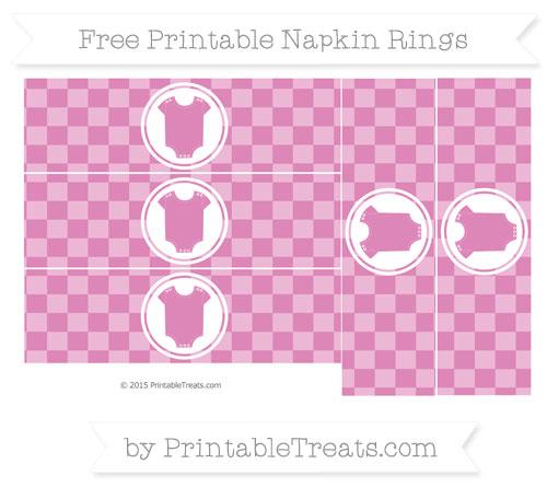 Free Pastel Fuchsia Checker Pattern Baby Onesie Napkin Rings