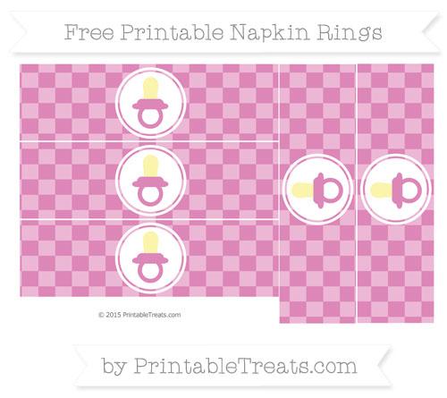 Free Pastel Fuchsia Checker Pattern Baby Pacifier Napkin Rings