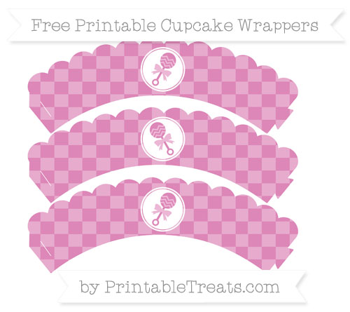 Free Pastel Fuchsia Checker Pattern Baby Rattle Scalloped Cupcake Wrappers