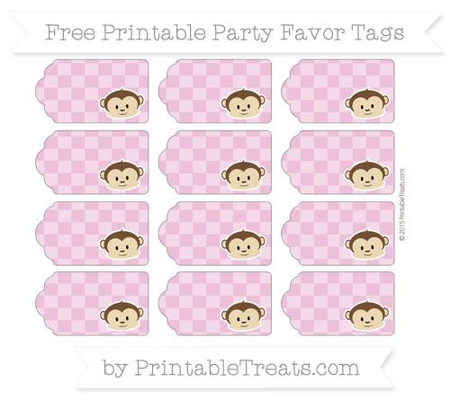 Free Pastel Fuchsia Checker Pattern Boy Monkey Party Favor Tags