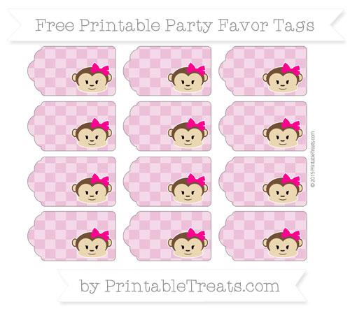 Free Pastel Fuchsia Checker Pattern Girl Monkey Party Favor Tags