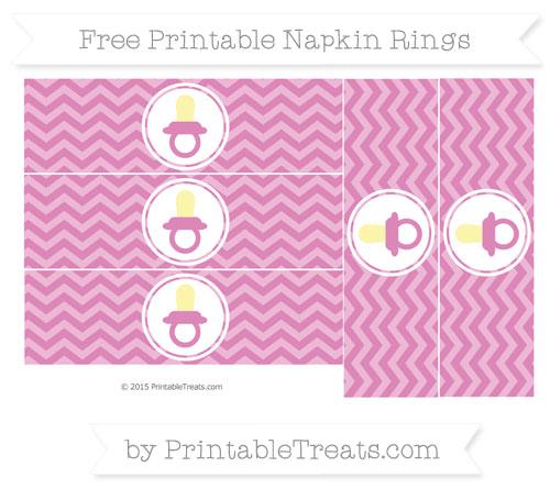 Free Pastel Fuchsia Chevron Baby Pacifier Napkin Rings
