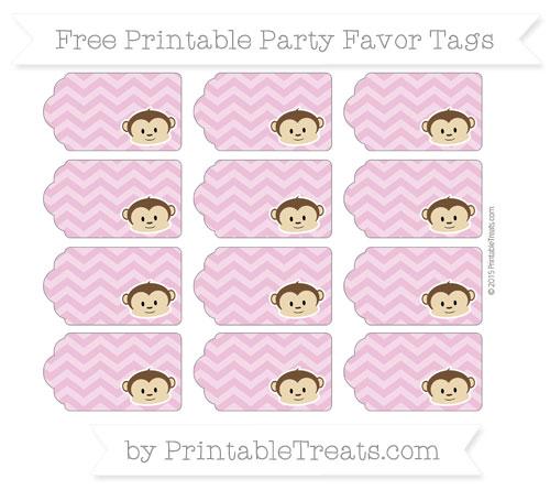 Free Pastel Fuchsia Chevron Boy Monkey Party Favor Tags