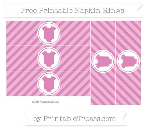 Free Pastel Fuchsia Diagonal Striped Baby Onesie Napkin Rings