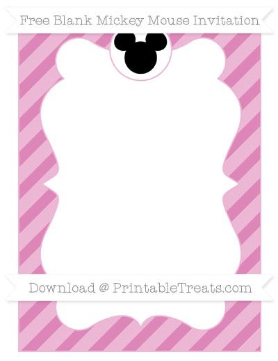 Free Pastel Fuchsia Diagonal Striped Blank Mickey Mouse Invitation