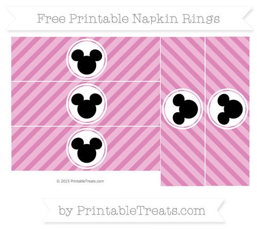 Free Pastel Fuchsia Diagonal Striped Mickey Mouse Napkin Rings
