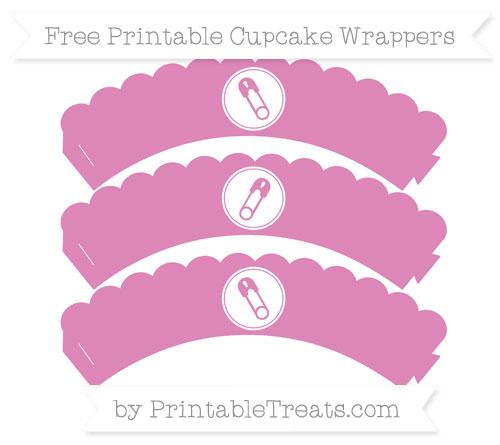 Free Pastel Fuchsia Diaper Pin Scalloped Cupcake Wrappers
