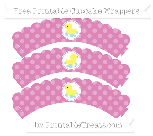 Free Pastel Fuchsia Dotted Pattern Baby Duck Scalloped Cupcake Wrappers