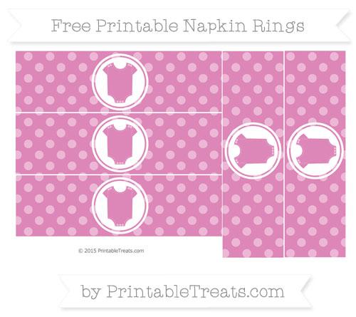 Free Pastel Fuchsia Dotted Pattern Baby Onesie Napkin Rings