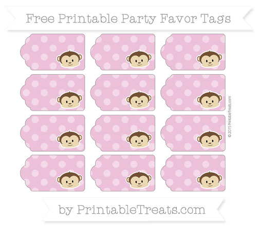 Free Pastel Fuchsia Dotted Pattern Boy Monkey Party Favor Tags