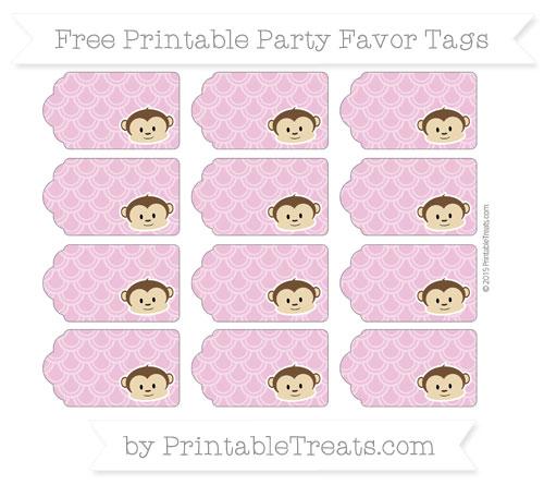 Free Pastel Fuchsia Fish Scale Pattern Boy Monkey Party Favor Tags