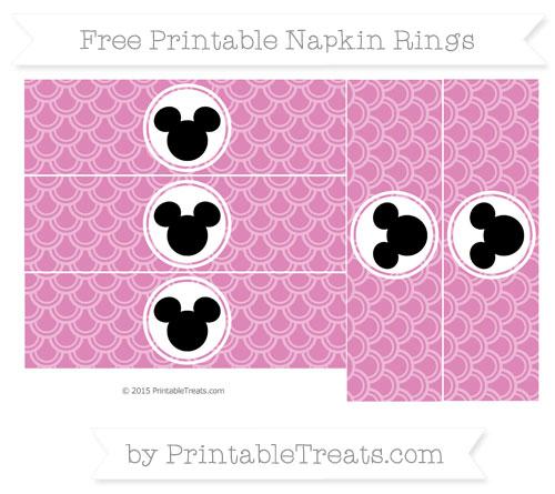 Free Pastel Fuchsia Fish Scale Pattern Mickey Mouse Napkin Rings