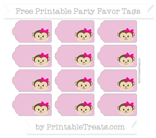 Free Pastel Fuchsia Girl Monkey Party Favor Tags
