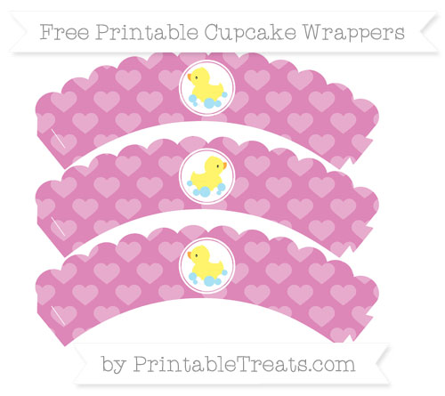Free Pastel Fuchsia Heart Pattern Baby Duck Scalloped Cupcake Wrappers
