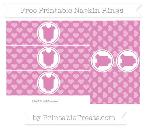 Free Pastel Fuchsia Heart Pattern Baby Onesie Napkin Rings