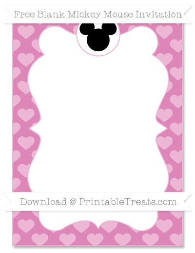 Free Pastel Fuchsia Heart Pattern Blank Mickey Mouse Invitation
