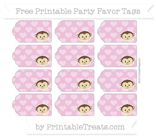 Free Pastel Fuchsia Heart Pattern Boy Monkey Party Favor Tags