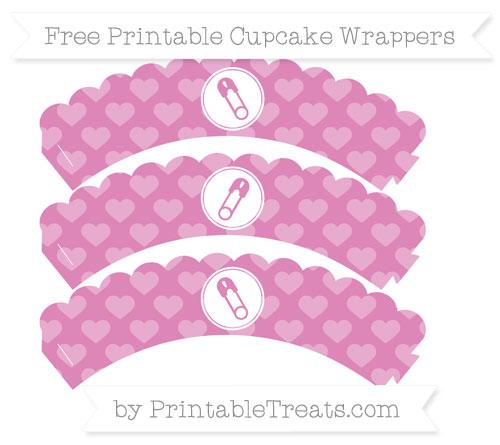 Free Pastel Fuchsia Heart Pattern Diaper Pin Scalloped Cupcake Wrappers