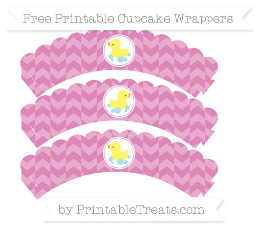 Free Pastel Fuchsia Herringbone Pattern Baby Duck Scalloped Cupcake Wrappers