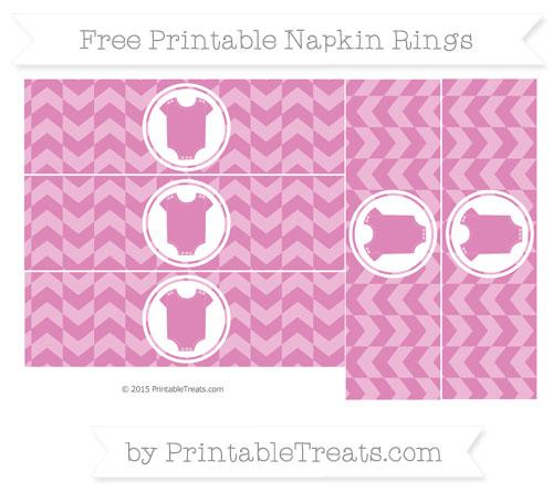 Free Pastel Fuchsia Herringbone Pattern Baby Onesie Napkin Rings