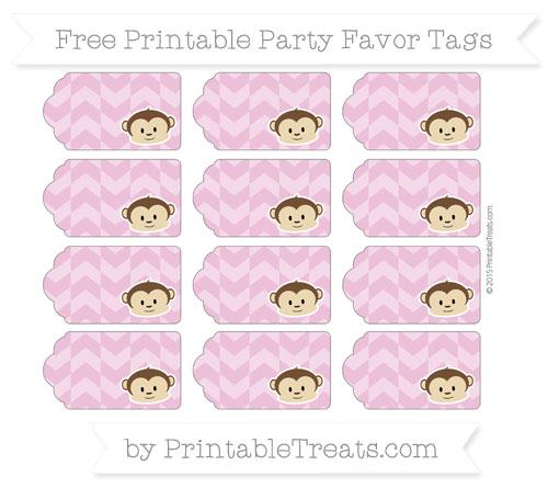Free Pastel Fuchsia Herringbone Pattern Boy Monkey Party Favor Tags