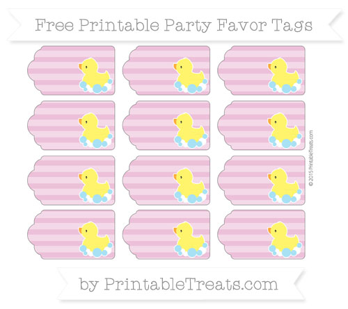Free Pastel Fuchsia Horizontal Striped Baby Duck Party Favor Tags