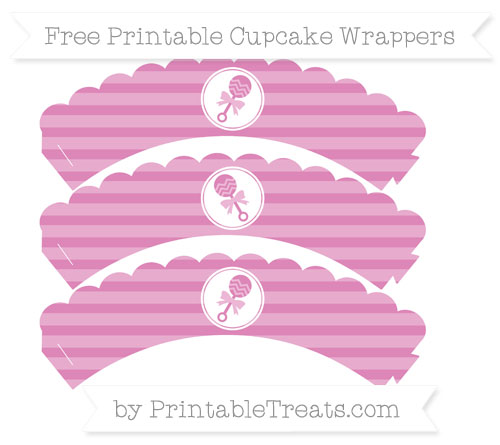 Free Pastel Fuchsia Horizontal Striped Baby Rattle Scalloped Cupcake Wrappers