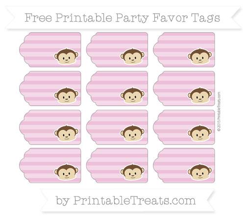 Free Pastel Fuchsia Horizontal Striped Boy Monkey Party Favor Tags