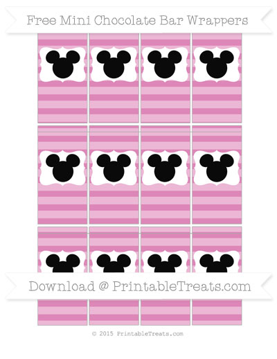 Free Pastel Fuchsia Horizontal Striped Mickey Mouse Mini Chocolate Bar Wrappers