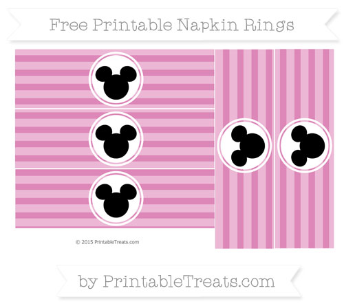 Free Pastel Fuchsia Horizontal Striped Mickey Mouse Napkin Rings