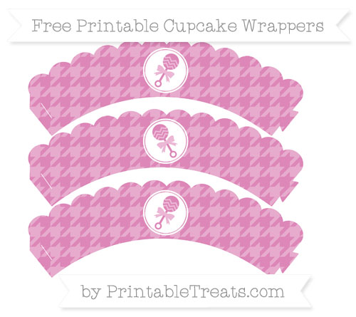 Free Pastel Fuchsia Houndstooth Pattern Baby Rattle Scalloped Cupcake Wrappers