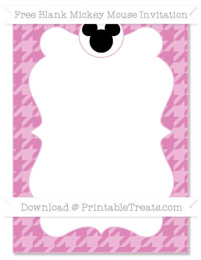 Free Pastel Fuchsia Houndstooth Pattern Blank Mickey Mouse Invitation