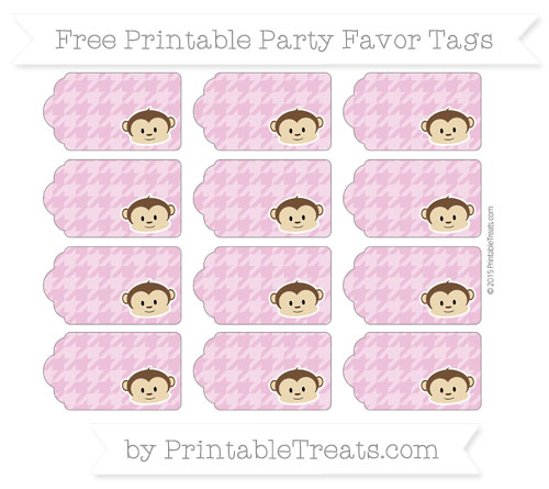 Free Pastel Fuchsia Houndstooth Pattern Boy Monkey Party Favor Tags