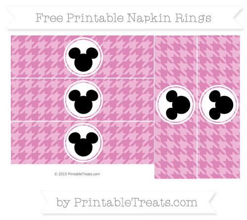 Free Pastel Fuchsia Herringbone Pattern Mickey Mouse Napkin Rings