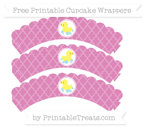 Free Pastel Fuchsia Moroccan Tile Baby Duck Scalloped Cupcake Wrappers
