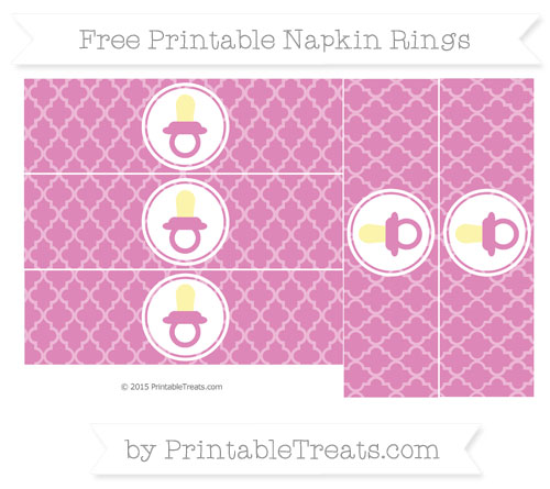Free Pastel Fuchsia Moroccan Tile Baby Pacifier Napkin Rings