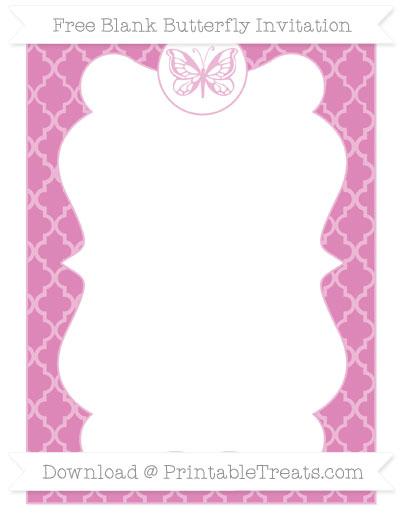 Free Pastel Fuchsia Moroccan Tile Blank Butterfly Invitation